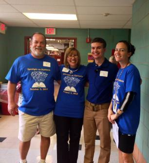 Left to Right: Bill Marsh (Father of Will Marsh), Dana Marsh (Mother of Will Marsh), Will Marsh, and Jennifer Dixon (Director of Guidance at Union Catholic High School) posed for a picture as they prepare to have attendees move from the keynote in the auditorium to the resource fair or mini dyslexia simulation.